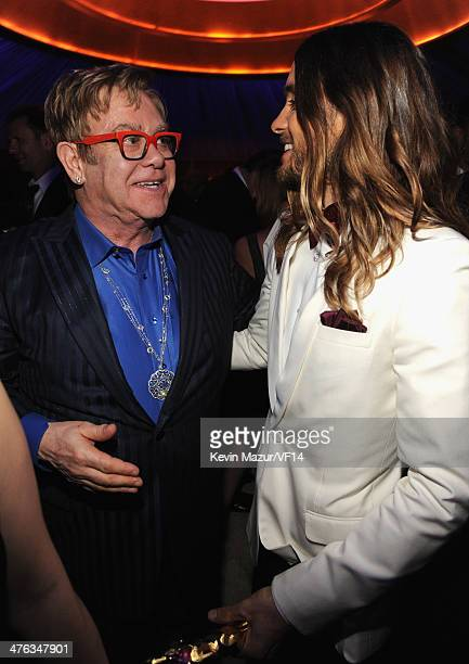 Elton John and Jared Leto attend the 2014 Vanity Fair Oscar Party Hosted By Graydon Carter on March 2 2014 in West Hollywood California