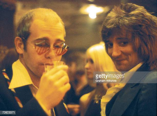 Elton John and Rod Stewart guests at a Ron Wood and Friends concert at Kilburn State Gaumont Theatre in London 13th July 1974