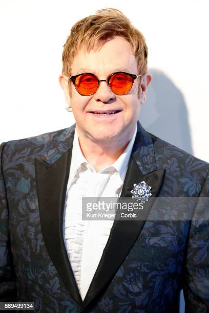 Elton John arrives at his 25th annual Elton John AIDS Foundation's Academy Awards Viewing Party on February 26 2017 in West Hollywood California...