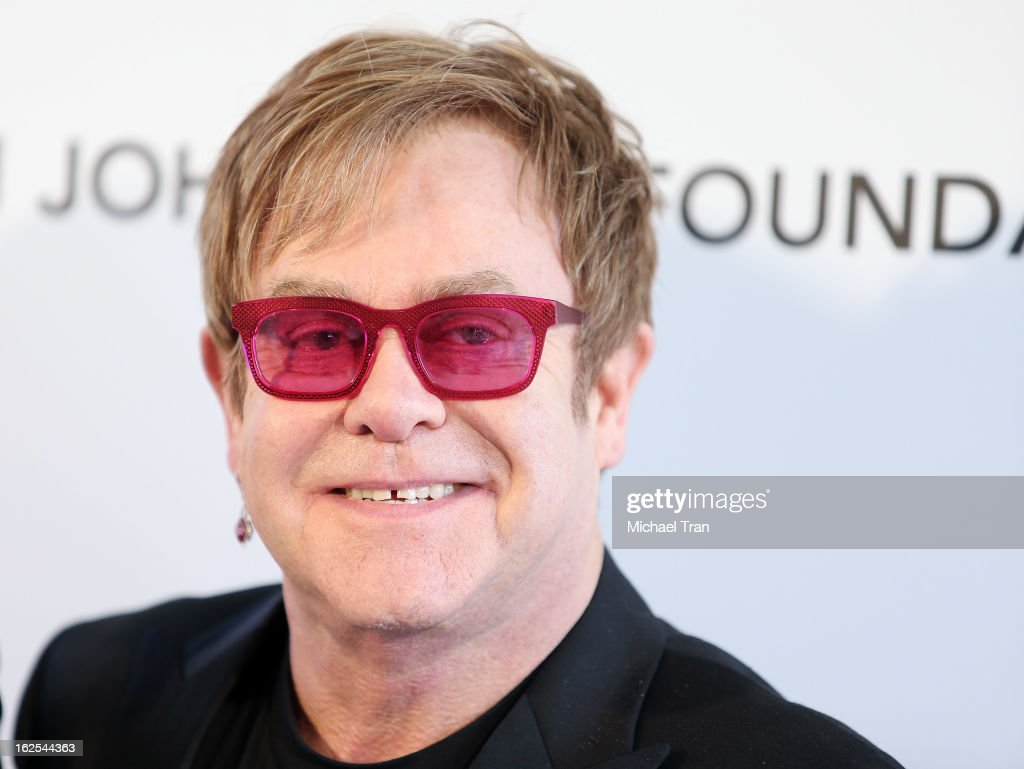 <a gi-track='captionPersonalityLinkClicked' href=/galleries/search?phrase=Elton+John&family=editorial&specificpeople=171369 ng-click='$event.stopPropagation()'>Elton John</a> arrives at the 21st Annual <a gi-track='captionPersonalityLinkClicked' href=/galleries/search?phrase=Elton+John&family=editorial&specificpeople=171369 ng-click='$event.stopPropagation()'>Elton John</a> AIDS Foundation Academy Awards viewing party held at West Hollywood Park on February 24, 2013 in West Hollywood, California.