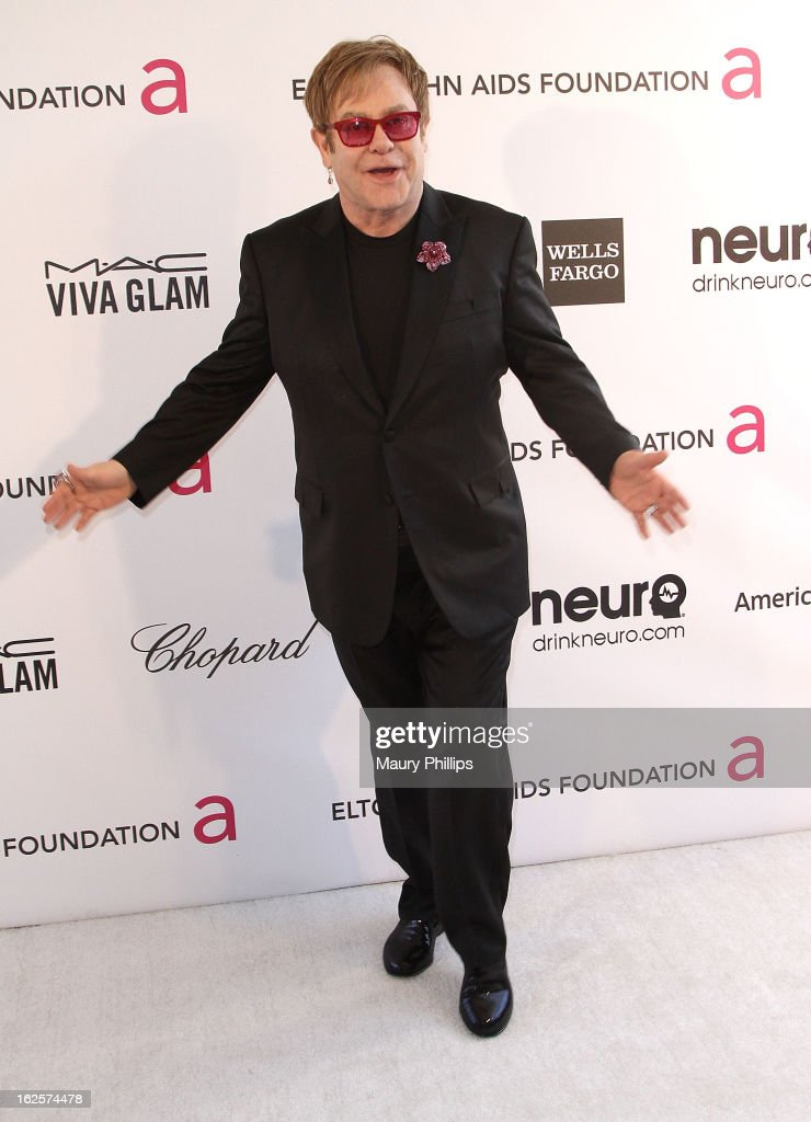 <a gi-track='captionPersonalityLinkClicked' href=/galleries/search?phrase=Elton+John&family=editorial&specificpeople=171369 ng-click='$event.stopPropagation()'>Elton John</a> arrives at the 21st Annual <a gi-track='captionPersonalityLinkClicked' href=/galleries/search?phrase=Elton+John&family=editorial&specificpeople=171369 ng-click='$event.stopPropagation()'>Elton John</a> AIDS Foundation Academy Awards Viewing Party at Pacific Design Center on February 24, 2013 in West Hollywood, California.