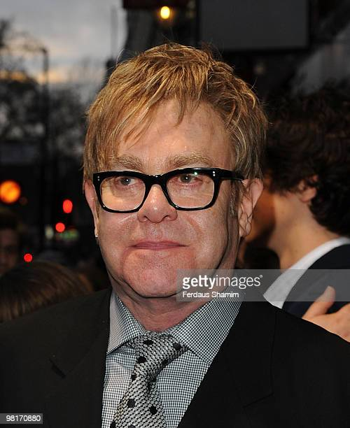 Elton John attends Billy Elliot The Musical Fifth Birthday on March 31 2010 in London England