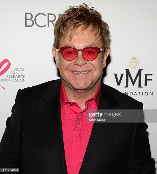 Elton John attends Breast Cancer Research Foundation's Hot Pink Party The Pink Standard at Waldorf Astoria Hotel on April 30 2015 in New York City