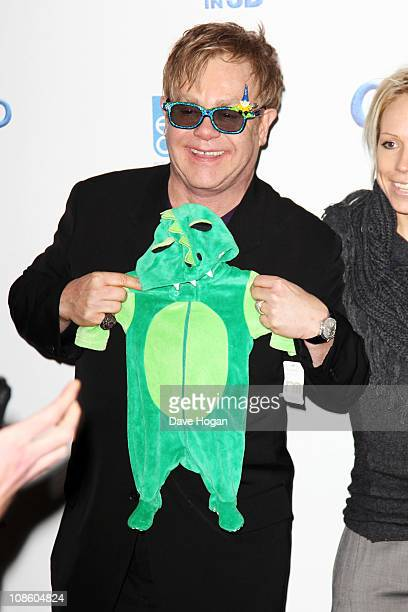 Elton John attends the UK premiere of Gnomeo And Juliet held at the Odeon Leicester Square on January 30 2011 in London England