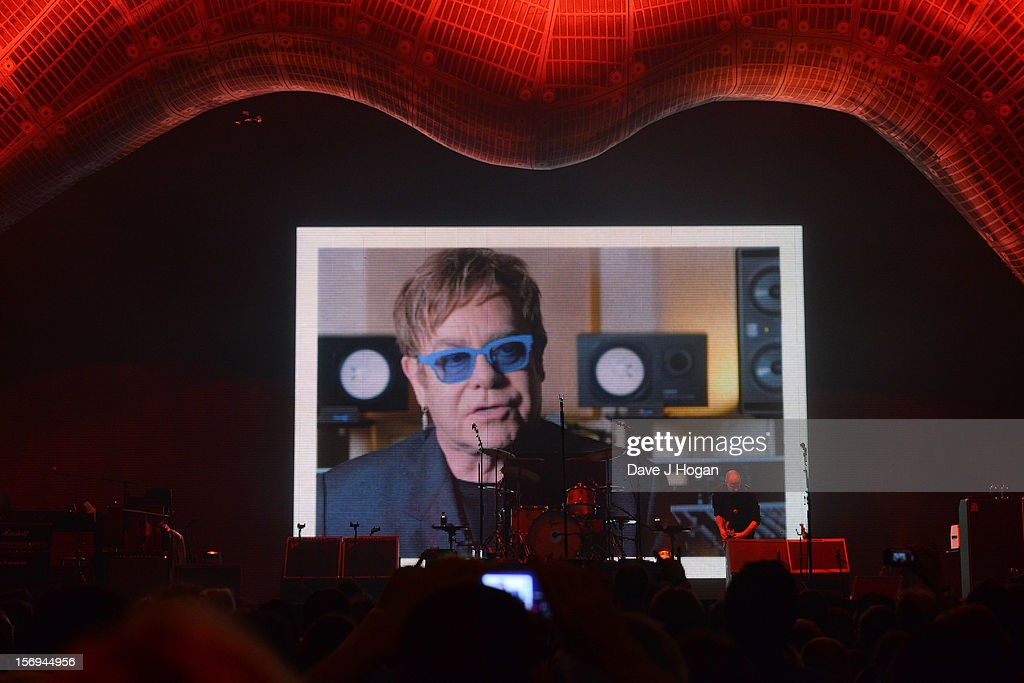 Elton John congratulates The Rolling Stones on their 50th anniversary via video link at 02 Arena on November 25, 2012 in London, England.