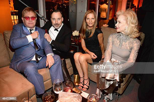 Elton John David Furnish and Lynn Wyatt attend the 2015 Vanity Fair Oscar Party hosted by Graydon Carter at the Wallis Annenberg Center for the...