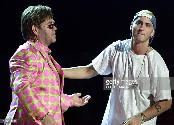 Elton John joins rap musician Eminem during their much anticipated performance at the 43rd Annual Grammy Awards at the Staples Center in Los Angeles...