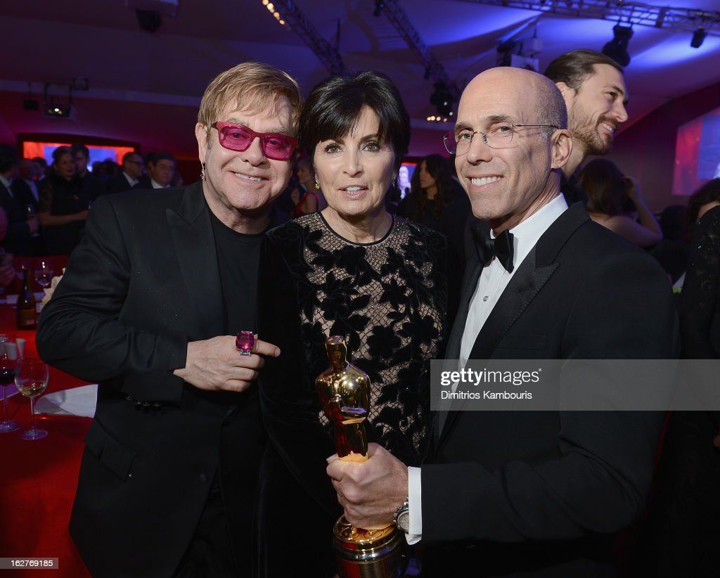 Elton John, Marilyn Katzenberg and producerJeffrey Katzenberg attend the 21st Annual Elton John AIDS Foundation Academy Awards Viewing Party at West Hollywood Park on February 24, 2013 in West Hollywood, California.