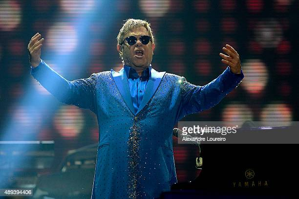 Elton John performs at 2015 Rock in Rio on September 20 2015 in Rio de Janeiro Brazil