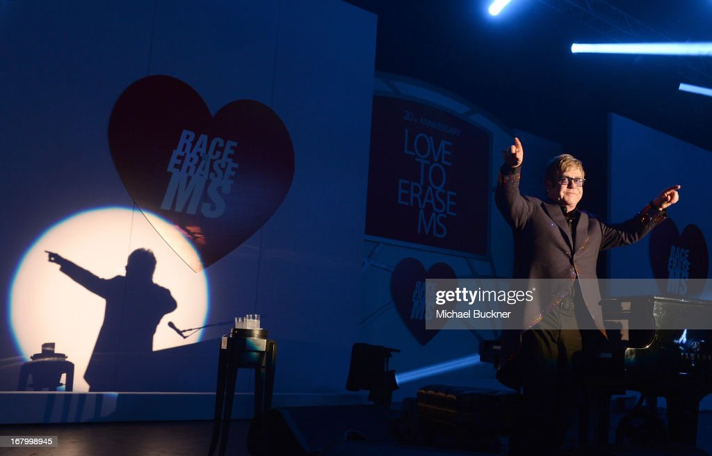 <a gi-track='captionPersonalityLinkClicked' href=/galleries/search?phrase=Elton+John&family=editorial&specificpeople=171369 ng-click='$event.stopPropagation()'>Elton John</a> performs at the 20th Annual Race To Erase MS Gala 'Love To Erase MS' at the Hyatt Regency Century Plaza on May 3, 2013 in Century City, California.