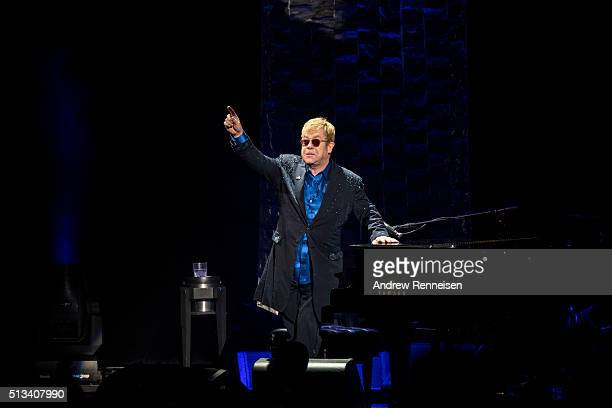 Elton John performs during a fundraiser for Democratic presidential candidate Hillary Clinton at Radio City Music Hall on March 2 2016 in New York...