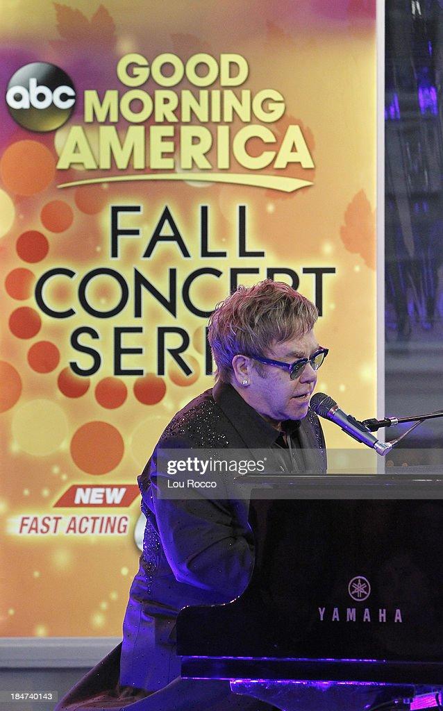 AMERICA - Elton John performs live on 'Good Morning America,' 10/14/13, airing on the ABC Television Network. ELTON