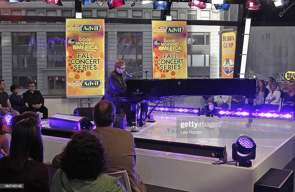 AMERICA - Elton John performs live on 'Good Morning America,' 10/14/13, airing on the ABC Television Network. ELTON