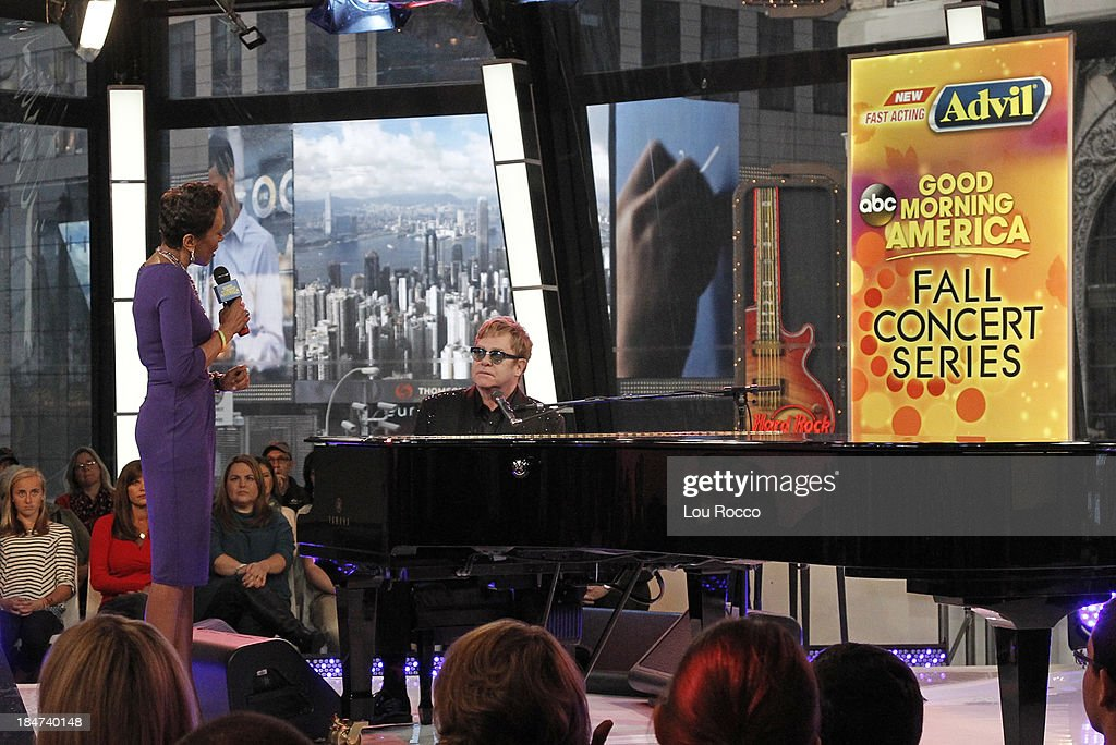 AMERICA - Elton John performs live on 'Good Morning America,' 10/14/13, airing on the ABC Television Network. ROBIN