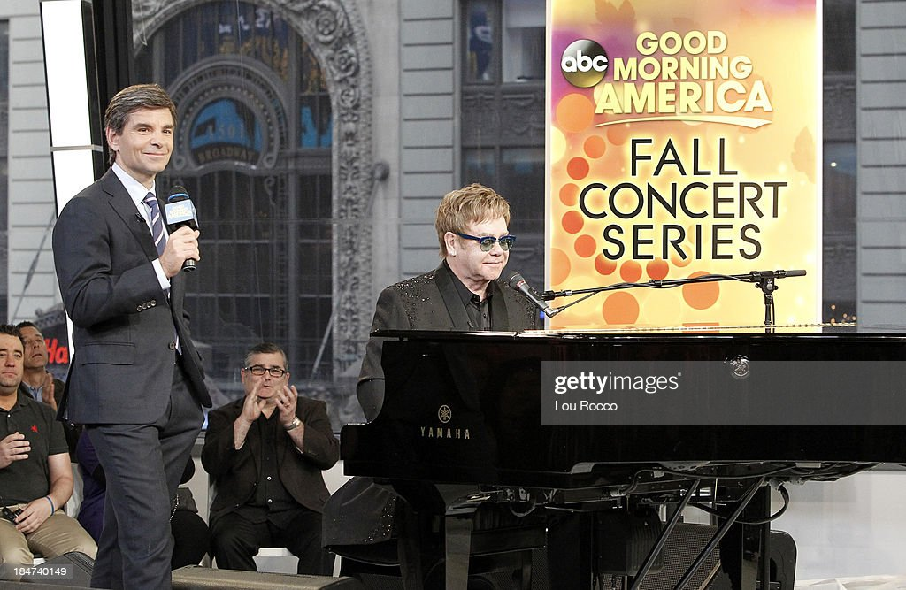 AMERICA - Elton John performs live on 'Good Morning America,' 10/14/13, airing on the ABC Television Network. GEORGE