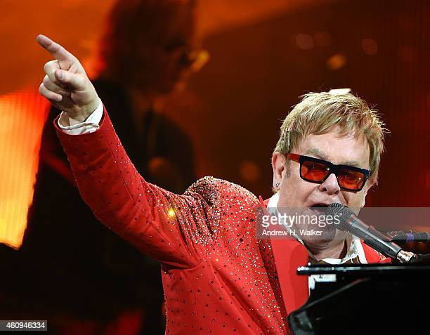 Elton John performs on Dick Clark's New Year's Rockin' Eve with Ryan Seacrest 2015 on December 31 2014 in New York City