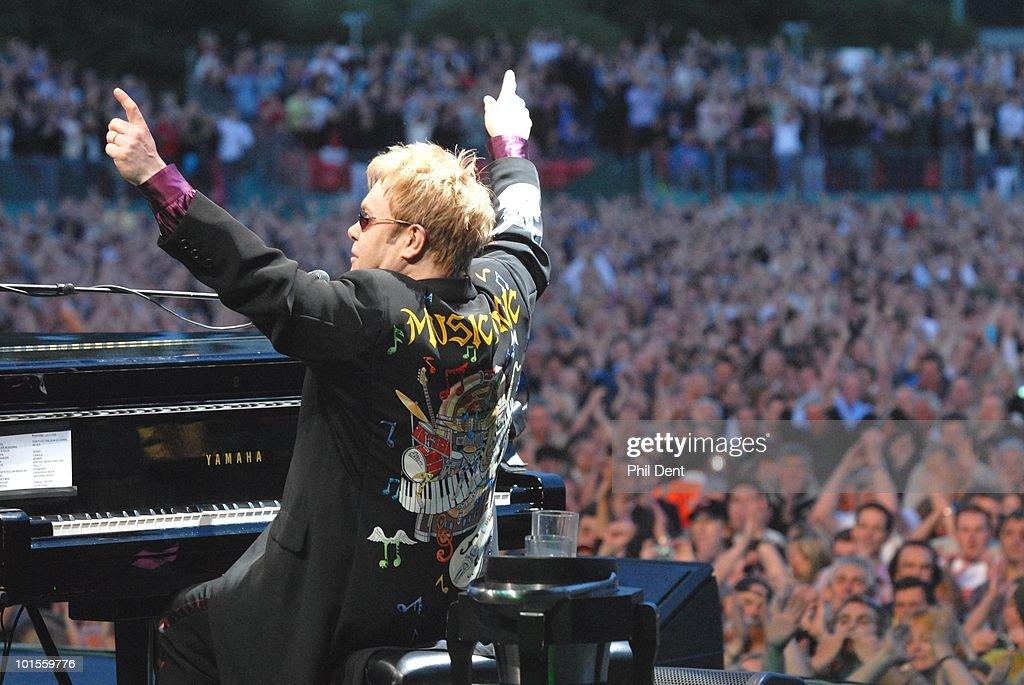 Elton John performs on stage at Mercedes-Benz World on 13th July 2008 in Weybridge, Surrey, United Kingdom.