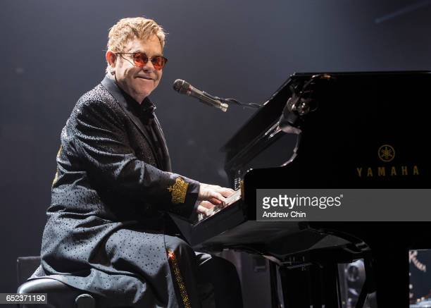Elton John performs on stage at Save On Foods Memorial Centre on March 11 2017 in Victoria Canada
