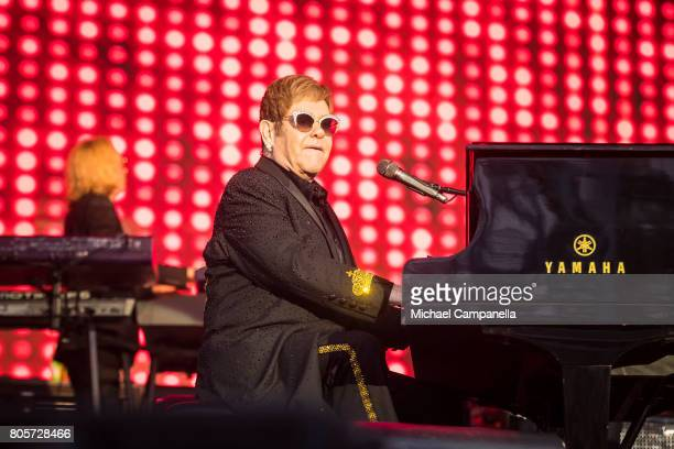 Elton John performs on stage at the Grona Lund amusement park on July 2 2017 in Stockholm Sweden