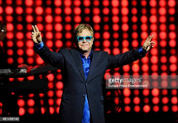 Elton John performs on stage at the Royal Theater on July 21 2015 in Madrid Spain