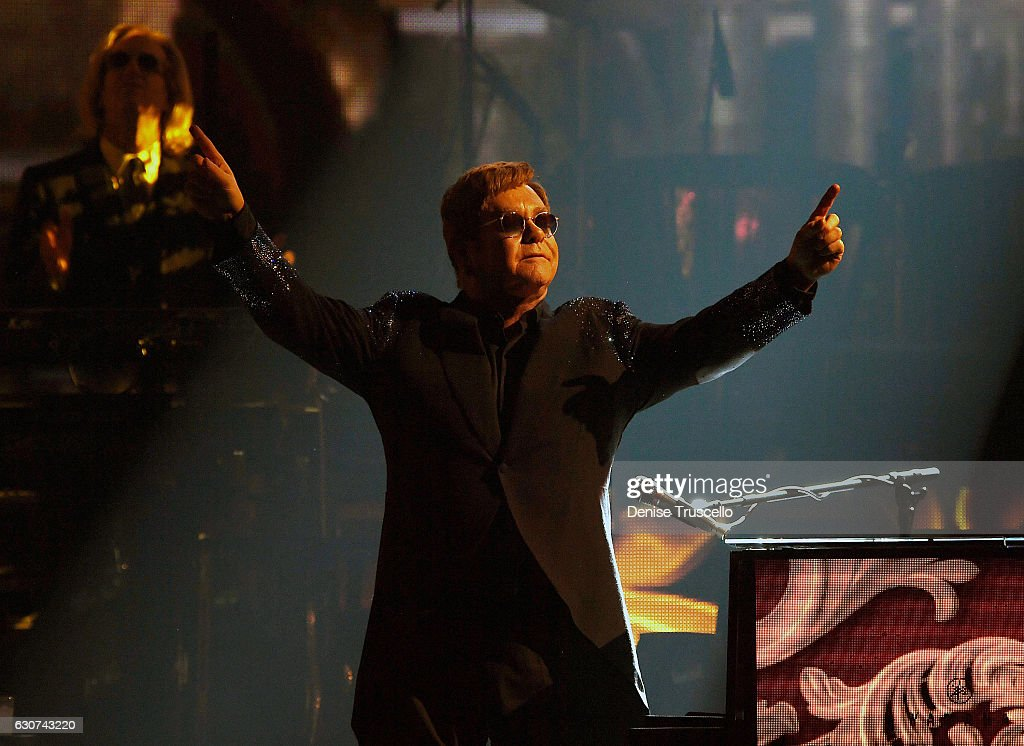 Elton John performs 'The Million Dollar Piano' at The Colosseum at Caesars Palace in Las Vegas on New Year's Eve December 31, 2016 in Las Vegas, Nevada.