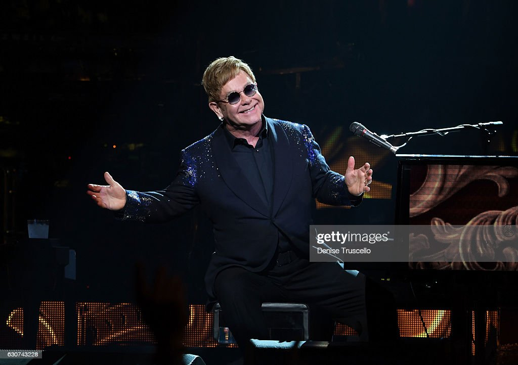 "Elton John performs ""The Million Dollar Piano"" at The Colosseum at Caesars Palace in Las Vegas on New Year's Eve"