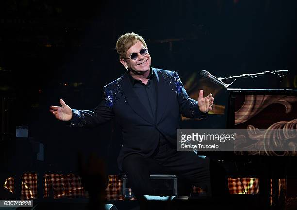 Elton John performs 'The Million Dollar Piano' at The Colosseum at Caesars Palace in Las Vegas on New Year's Eve December 31 2016 in Las Vegas Nevada
