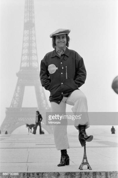Elton John pictured in Paris in front of the Eiffel Tower 21st February 1979