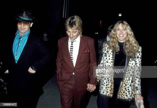 Elton John Rod Stewart and Alana Hamilton during Elton John Rod Stewart and Alana Hamilton Sighting at Le Dome Restaurant in Los Angeles February 23...