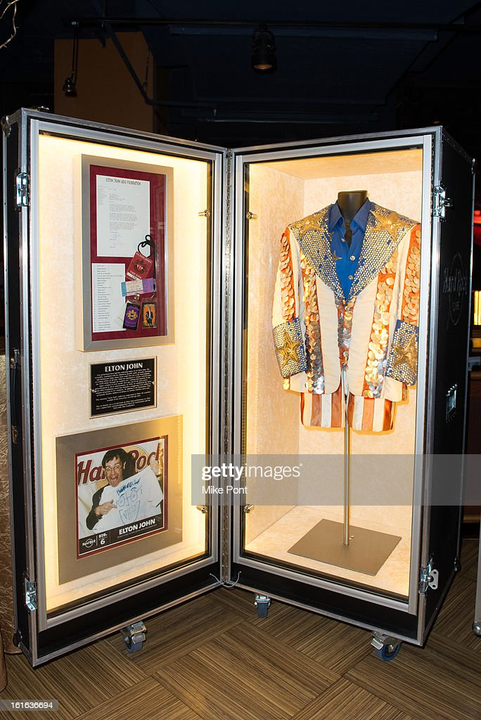 Elton John's Flamboyant sequined 'Uncle Sam' outfit on display at Hard Rock's 'Gone Too Soon' and 'Music Gives Back' Media Preview Day at Hard Rock Cafe New York on February 13, 2013 in New York City.