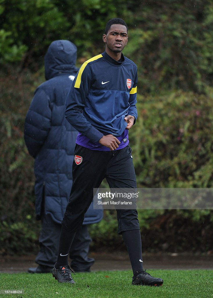 Elton Monterio of Arsenal during a training session at London Colney on December 03, 2012 in St Albans, England.