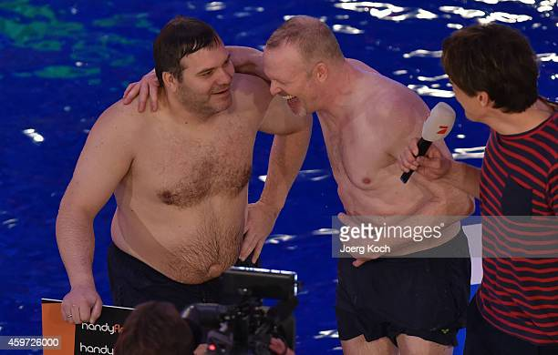 Elton Stefan Raab and Matze Knop attend the TV show 'TV Total Turmspringen' on November 29 2014 in Munich Germany