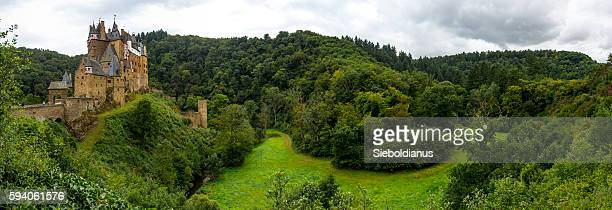Eltz Castle and the Elzbach River and Valley panoramic photo.