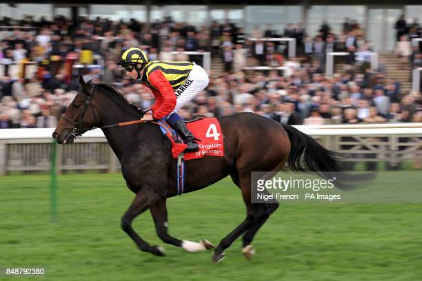 Elusive Kate ridden by jockey William Buick goes to post before the Kingdom of Bahrain Sun Chariot Stakes