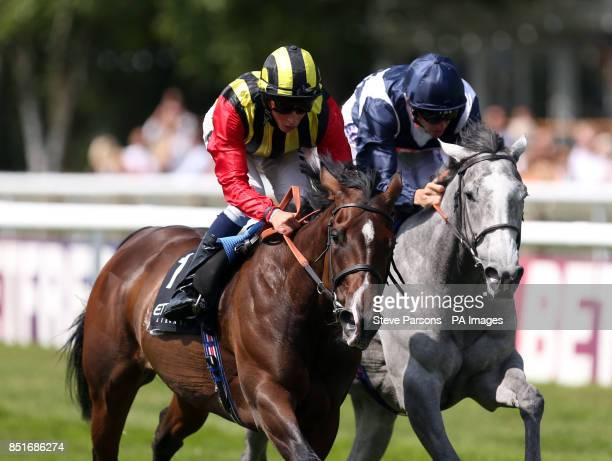 Elusive Kate ridden by William Buick beats Sky Lantern to win The EtihadAirways Falmouth Stakes during Abu Dhabi Gentlemen's Day of the...