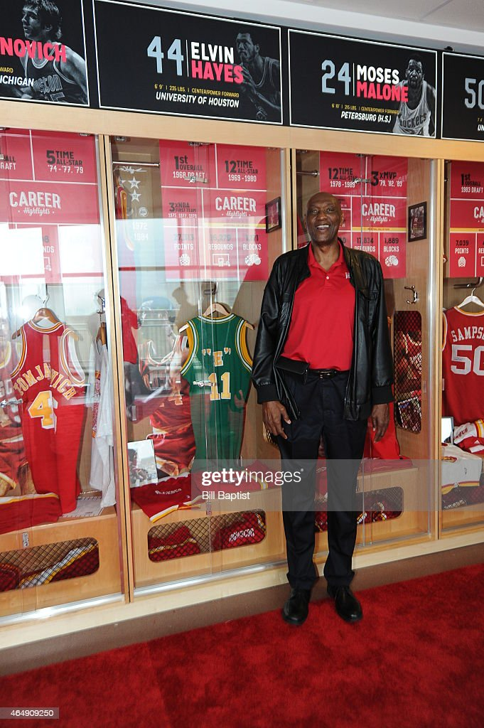 Elvin Hayes is honored during the unveiling of the Legends Lockers at the Toyota Center on March 1 in Houston Texas NOTE TO USER User expressly...