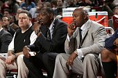 Elvin Hayes NBA legend and Sidney Lowe of the Detroit Pistons coach the rookie team during the TMobile Rookie Challenge on February 17 2006 at the...