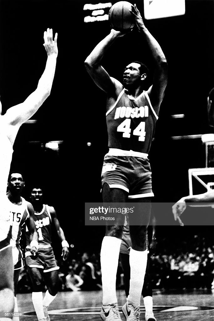 Elvin Hayes of the Houston Rockets shoots a jumpshot against the New Jersey Nets circa 1981 in East Rutherford New Jersey NOTE TO USER User expressly...