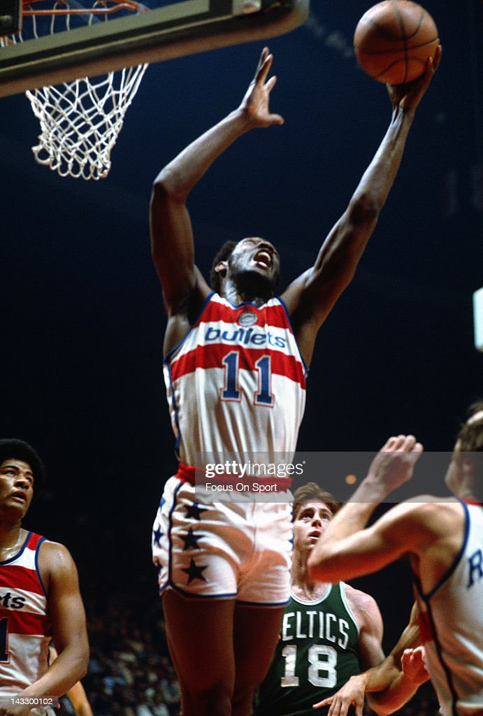 Elvin Hayes of the Washington Bullets grabs a rebound against the Boston Celtics during an NBA basketball game circa 1977 at the Capital Centre in...