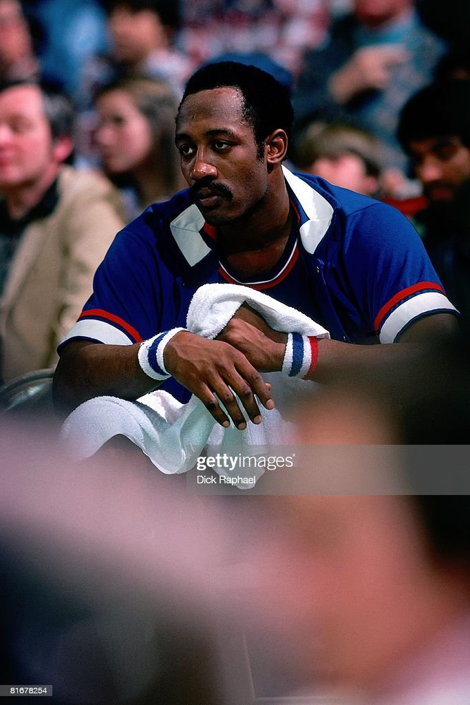 Elvin Hayes of the Washington Bullets sits on the bench during a game against the Boston Celtcis circa 1978 at the Boston Garden in Boston...
