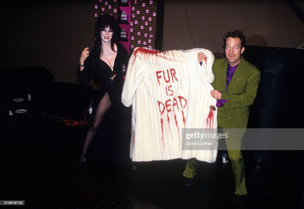 Elvira and Fred Schneider of B52's at Rock Against Fur at Palladium New York New York July 16 1998