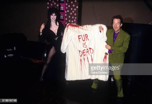 Elvira and Fred Schneider of B52's at Rock Against Fur at Palladium New York New York July 16 1998