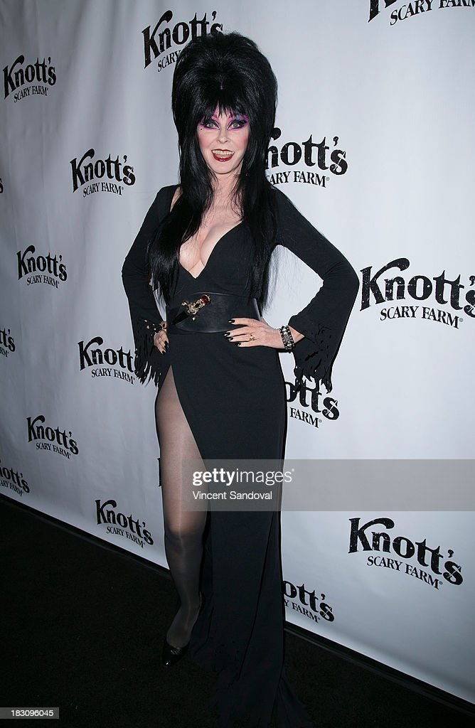 Elvira attends the VIP opening of Knott's Scary Farm HAUNT at Knott's Berry Farm on October 3, 2013 in Buena Park, California.