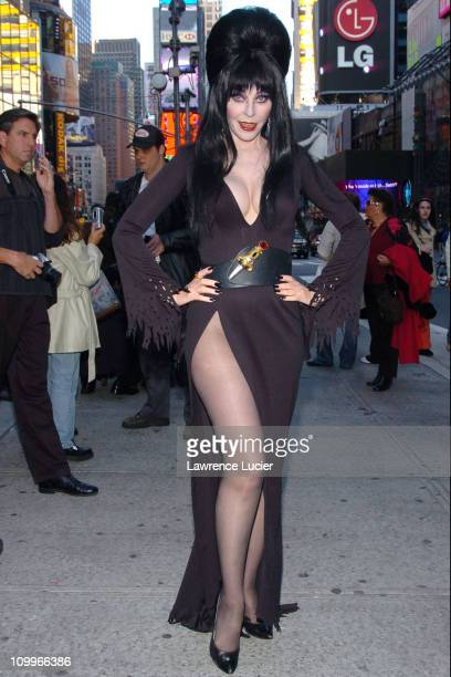 Elvira during Elvira Pays A Halloween Visit To Times Square at Times Square in New York City New York United States