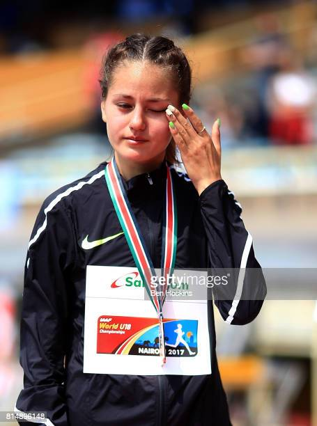 Elvira Khasanova with her bronze medal following the final of the girls 5000m walk on day four of the IAAF U18 World Championships at the Kasarani...