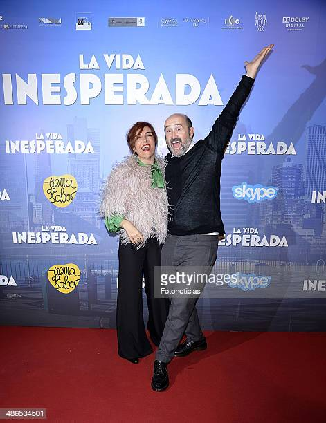 Elvira Lindo and Javier Camara attend the 'La Vida Inesperada' premiere at Callao cinema on April 24 2014 in Madrid Spain