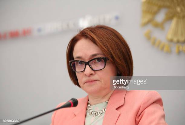 Elvira Nabiullina Russia's central bank governor pauses during a news conference to announce interest rates in Moscow Russia on Friday June 16 2017...
