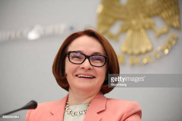 Elvira Nabiullina Russia's central bank governor reacts during a news conference to announce interest rates in Moscow Russia on Friday June 16 2017...