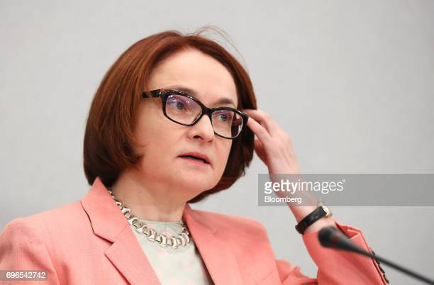 Elvira Nabiullina Russia's central bank governor speaks during a news conference to announce interest rates in Moscow Russia on Friday June 16 2017...