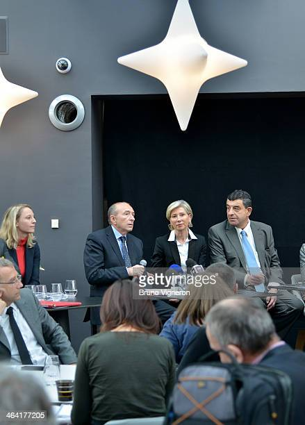 Elvire Servien Gerard Collomb Myriam Picot and Thierry Philip speak to the media during the March 2014 mayoral elections press conference on January...